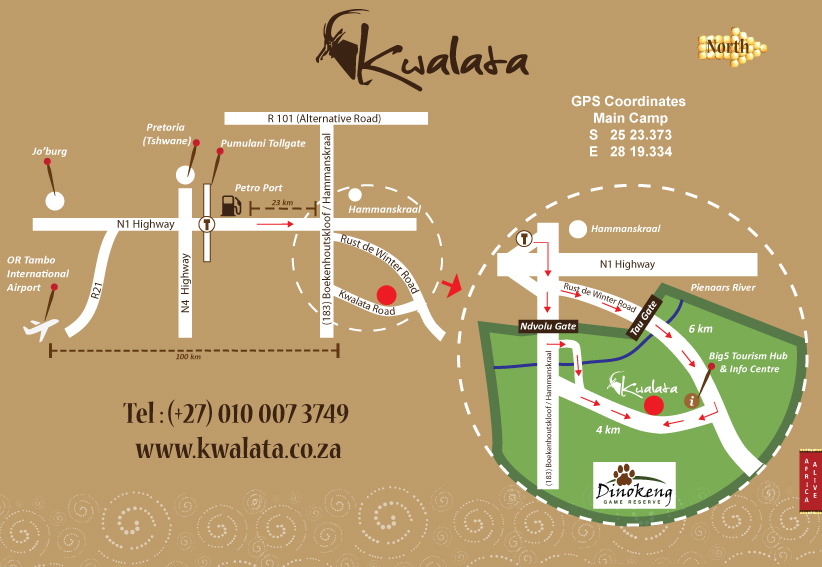 Map to Kwalata Game Lodge in Dinokeng Big5 Game Reserve